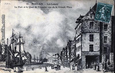 Carte postale, le quai vu de la Grande Place, fin XVIIIe siècle